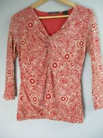 Liz Claiborne Women's Sz Small 3/4 Sleeve Paisley Red Blouse Top