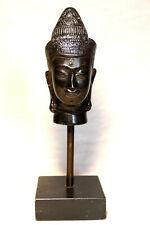 Superbe Tête de Bouddha en bronze sur socle - Bhoutan /Birmanie - XXème - H22cm