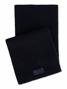 CALVIN KLEIN Mens Navy Chunky Ribbed Knit Winter Scarf