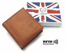 RFID SAFE Blocking Real Distressed Leather Designer Mens Wallet Contactless Card