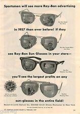 1957 ADVERT Bausch Lomb Optical Ray Ban Sunglasses 2 PG Colt Gun Pistol Fire Arm