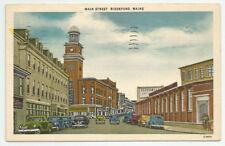 Main Street Biddeford Maine Postcard 1952 ME Pepperell Vintage Linen
