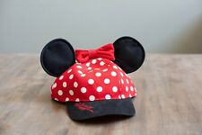 Disney Theme Park Minnie Mouse Ear Polka Dot Bow Baseball Cap/Hat Youth Size