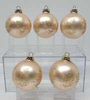 Vintage Rauch Peach W/ Gold Glitter Glass Ball Christmas Tree Ornaments Set of 5