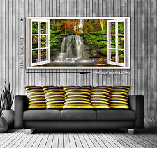 Lush Waterfall Panoramic Window View Canvas Print XXL 4.5 ft wide x 2 ft high