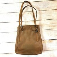 Fossil Womens Tan Leather Tote Shoulder Bag Buckle Straps Brown EUC