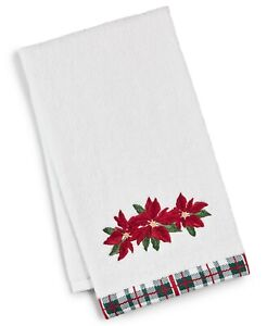 "Martha Stewart Collection 100% Cotton Poinsettia 16"" x 28"" Hand Towel - Red"