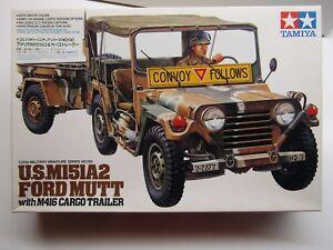 Tamiya 1:35 Scale U.S. M151A2 Ford Mutt w/- M416 Cargo Trailer New - Kit #35130