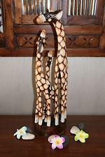 Brand New Bali Hand Carved Giraffe Family Sculpture - Balinese Wooden Animal Art