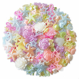 50pcs PASTEL Flatback Pearl Embellishments Cabochon Scrapbooking Wedding Craft