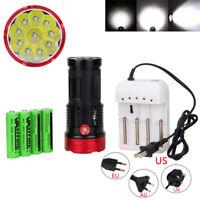 40000LM SKYRAY 10X XM-L T6 LED Torch 4 x 18650 Hunting Lamp Flashlight+2*charger
