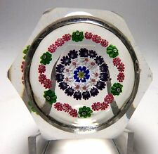 LARGE ANTIQUE CLICHY FACETED CONCENTRIC MILLEFIORI PAPERWEIGHT  1845-60