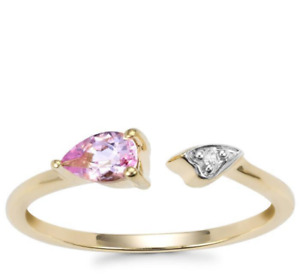Rarest Brazilian Imperial Pink Topaz & Zircon 10K Y Gold Torque Ring Size N-O/7