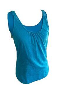 prAna Womens Mika Tank Top Yoga Workout Size M Turquoise Sleeveless Double Layer