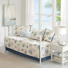 BAYSIDE BLUE 6pc DAYBED COVERLET SET : BEACH HOUSE TROPICAL SEA SHELL SEASHELL