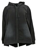 DG2 By Diane Gilman Women's Plus Sz 1X Downtime Flutter Back Hoodie Black 736522