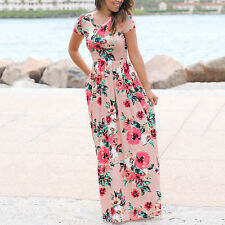 Women Long Casual Beach Round Neck Short Sleeve Floral Pattern Dress Plus Size