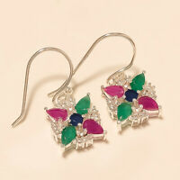 Natural Emerald Ruby Sapphire Earrings 925 Sterling Silver Christmas Jewelry New