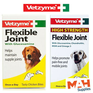 Vetzyme Flexible Joint + High Strength Glucosamine Dog Joint Tablets 30s 90s
