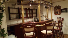 Komplette Hausbar Kellerbar Theke Tresen Zapfhahn Bar 5 Stühle Mahagoni Messing