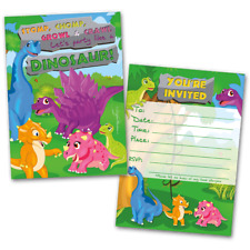 20 Kids Party Invitation Cards Dinosaur Themed and 20 Envelopes