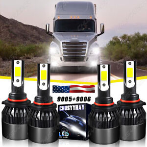For Freightliner Coronado 2013-2018 4x Combo 9005 9006 LED Headlight Bulbs Hi-Lo