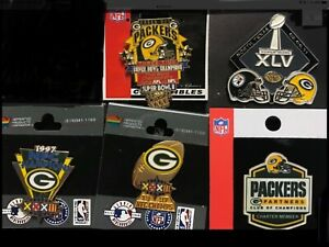 Set of 5 Green Bay Packers Super Bowl and Specialty  Pins BLOWOUT PRICE