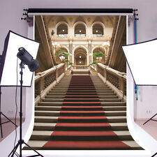 5x7ft Red Carpet Stairway Palace Photography Backgrounds Vinyl Photo Backdrops