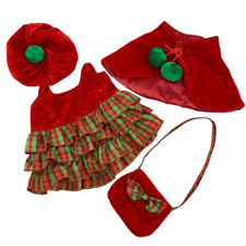 "8"" RED WINTER CHRISTMAS TARTAN DRESS TEDDY OUTFIT FITS 8""-10""(20cm) TEDDY BEARS"