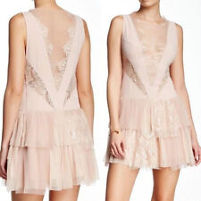NWT $250 FREE PEOPLE NUDE PINK DOVE LACE TIERED ILLUSION PARTY DRESS 8 M MD