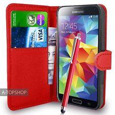 Rouge étui porte-feuille Cuir PU Livre Housse Pour Samsung Galaxy S5 G900