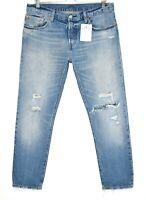 Womens Levis 501 ct Boyfriend Tapered Ripped Blue Crop Jeans 12 W30 L32 / L28