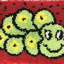 Vintage Latch Hook Rug Turtle Wall Hanging Complete Craft Catepillar