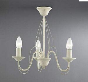 The Lighting Col. 3 Light Candle-Style Ceiling Chandelier Cream Brushed Gold