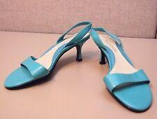 Aerosoles Sandal Heel 6M NEW Turquoise Blue Leather Open-toe Slingback Sunny Day