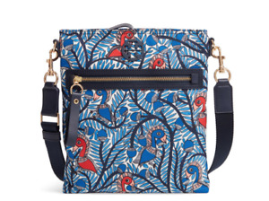Tory Burch NEW Tilda Blue Wild Printed Swingpack Crossbody Zip Strap Nylon Logo