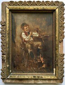 Antique 18th/19th Century Original Oil Painting Portrait Boy Lobster Crawfish