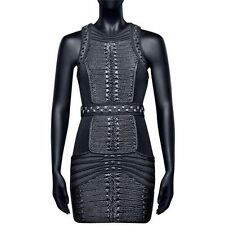 BNWT BALMAIN x H&M Runway Black Short Fitted Velvet Braided Braiding Robe Dress