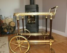 Vintage Italian Bar Cart Brushed Stainless Brass Tea Trolley Serving Cart Hollyw