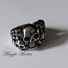 Para hombres de plata Anillo de Cráneos Gótico Biker Halloween mágicas.