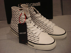 ROBERTO CAVALLI SPORT MEN'S LOGO WHITE PRINT SIZE 10 SHOES SNEAKERS - BRAND NEW