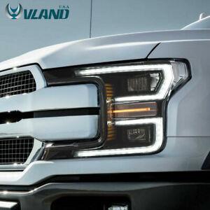VLAND LED Headlight Fits Ford F-150 F150 2018-2019 Black LED Headlights Assembly