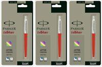 3 x Parker Jotter CT Chrome Trim Ball Point Pen, Red Body Blue Ink Fine Nib New