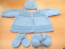 Hand Knitted Blue Matinee Jacket Hat Mitts and Bootee Set