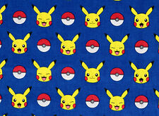 "POKEMON 100% COTTON FABRIC  PIKACHU  ROBERT KAUFMAN POCKET MONSTERS  16"" REMNANT"