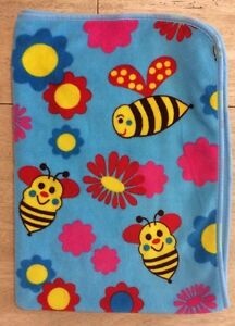 Northpoint Baby Blue Girls Blanket Yellow Bumblebees Red Pink Flowers Plush