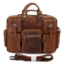 Augus Mens Thick Crazy Horse Leather Messenger Briefcase Shoulder Bag Tote