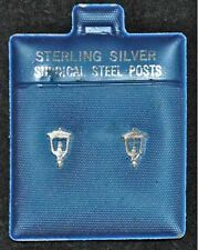 2 PAIR STERLING SILVER EARRINGS (SURGICAL POSTS) 1 ROCKING HORSE & 1 LAMP POST