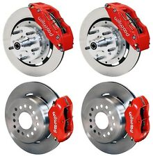 """WILWOOD DISC BRAKE KIT,70-73 FORD,MERCURY,12"""" ROTORS,6 PISTON FRONT CALIPERS,RED"""