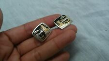 Pretty vintage Japanese sterling 925 950 damascene etched pagada cufflinks
